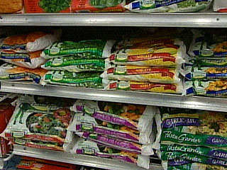 Packages of frozen vegetables are picked and processed at their peak of flavor.