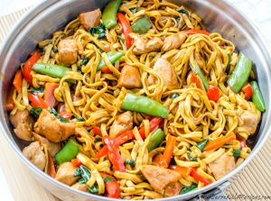 Chicken and vegetable lo mein.