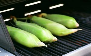 Corn on the cob in husk on the grill.