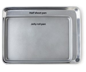 Jellyroll Pan compared to a half sheet pan.
