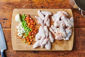 Ingredients for basic chicken stock.
