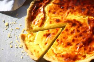 Onion Quiche with cheese.