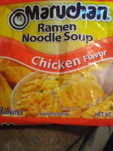 Maruchan RamenNoodle Soup packets are a personal favorite and are a good starting point to get creative.