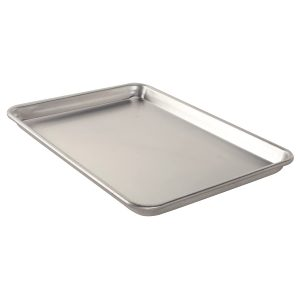 """A Half Sheet Pan with a 1"""" rim, also called a sheet pan or Jelly Roll pan. Smaller rims are on baking and cookie sheets."""