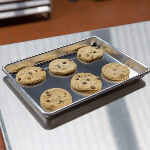 This is a quarter sheet pan, perfect for heating small foods.