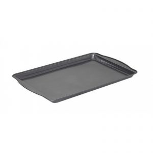 A typical cookie sheet is found in most homes. The only difference is there are expanded edges to use as handles.