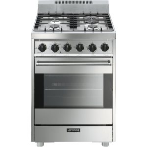 A typical four-burner stove and oven range.